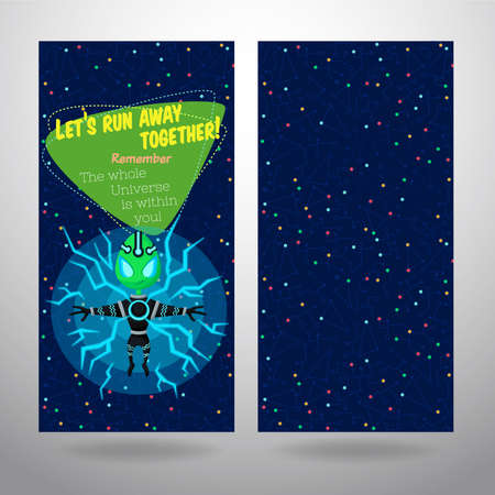 cosmonautics day: Vector illustration in flat style about outer space. Planets in the univers. Greeting card