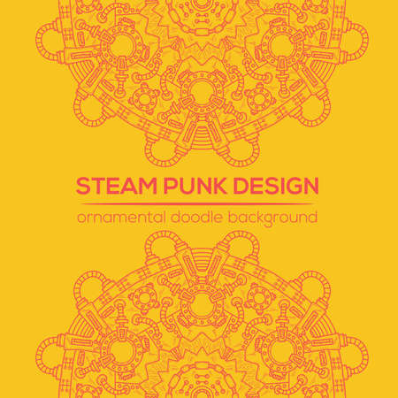 cyberpunk: Steampunk vector design with industrial technical elements of mechanics. Vector round mandala. Ornamental doodle. Templates for your own design.