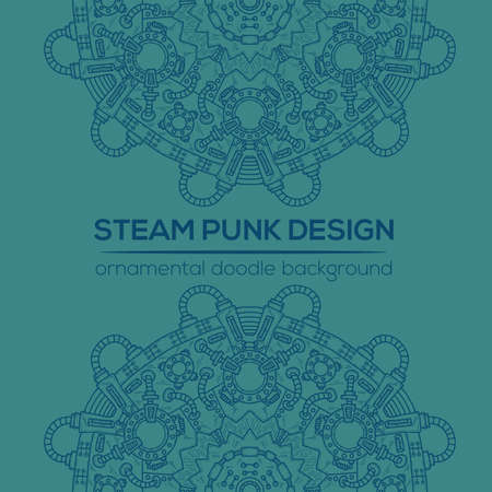 conveyer: Steampunk vector design with industrial technical elements of mechanics. Vector round mandala. Ornamental doodle. Templates for your own design.