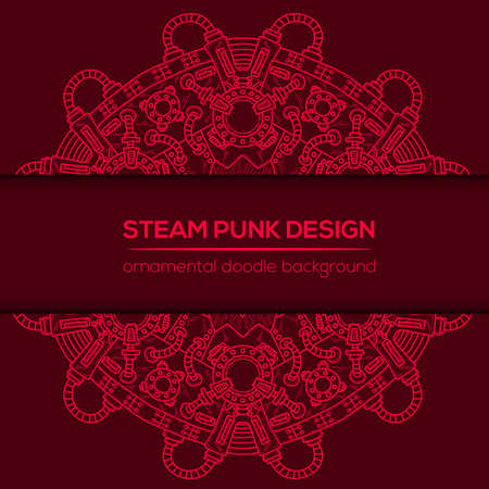 Steampunk vector design with industrial technical elements of mechanics. Vector round mandala. Ornamental doodle. Templates for your own design.