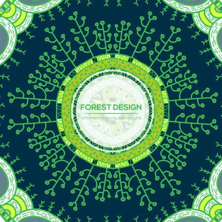 childish: Vector nature seamless pattern with forest. Vector round mandala in childish style. Ornamental doodle backgrund. Illustration