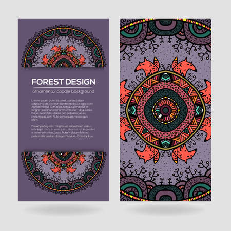 childish: Vector round mandala design in childish style with forest and foxes. Nature print in doodle style.