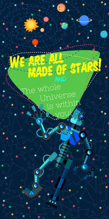 Vector illustration in flat style about outer space and robot. Planets in the univers. Greeting card