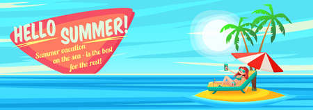summer holidays: Summer Holidays background. Vector Illustration about Girl on beach. Selfie. Vacation on the sea.
