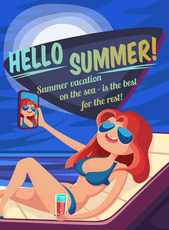 summer night: Summer Holidays background. Vector Illustration about Girl on beach. Selfie. Vacation on the sea. Summer night. Illustration