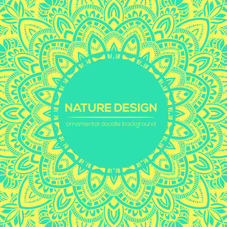backgrund: Vector nature decor for your design with abstract ornament. Vector round mandala in childish style. Ornamental doodle background. Illustration