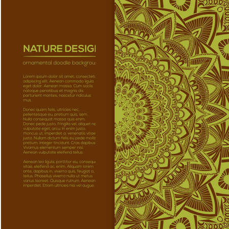 ornamental background: Vector nature decor for your design with abstract ornament. Vector round mandala in childish style. Ornamental doodle background. Illustration