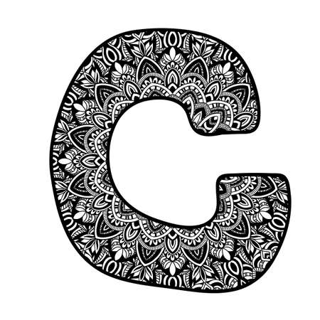 Meditation mandala ornament. Ornamental font. Hand drawn doodle ethnic vector alphabet. Illustration