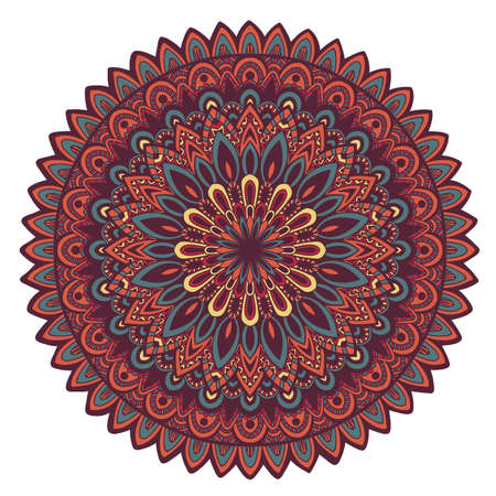 oriental style: Vector round mandala. Decor for your design. Ornamental doodle background.. Round pattern, oriental style. Mandala Hand drawn.