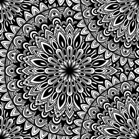 oriental style: Vector round mandala. Decor for your design. Ornamental doodle background.. Round pattern, oriental style. Mandala Hand drawn. Vector nature seamless pattern with abstract ornament.