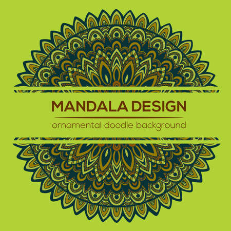 nature vector: Vector nature decor for your design with abstract ornament. Vector round mandala in childish style. Ornamental doodle background. Illustration