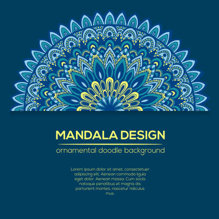 childish: Vector nature decor for your design with abstract ornament. Vector round mandala in childish style. Ornamental doodle background. Illustration