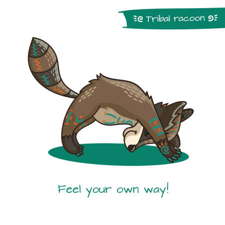 animal practice: Cute hand drawn tribal racoon doing yoga position, fitness or gymnastic. Vector illustration.