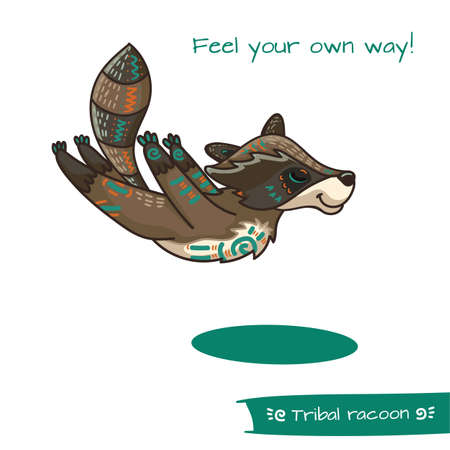 racoon: Cute hand drawn tribal racoon doing yoga position, fitness or gymnastic. Vector illustration.