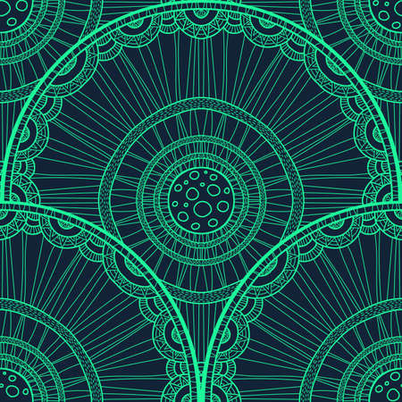Seamless tribal abstract pattern about nature for printing on fabric or paper. Doodleart mandala design. Hand drawn forest background.