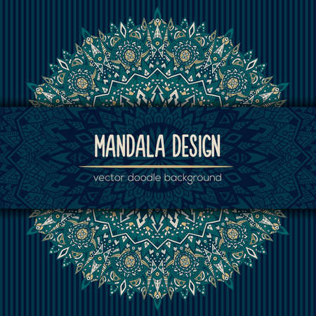 eclectic: Vector mandala decor for your design with abstract ornament. Vector trinal business card. Oriental design Layout. Islam, Arabic, Indian, ottoman motifs. Ornamental doodle background.