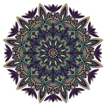 Tribal mandala for printing on fabric or paper. Hand drawn background. Islam, Arabic, Indian, ottoman oriental ornament. Illustration
