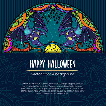 Hand drawn tribal bat in the forest for Happy Halloween card. Vector illustration with oriental ornaments. Doode art wild nature.