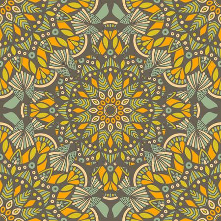 Tribal vector mandala. Vintage design for printing. Hand drawn background. Islam, Arabic, Indian, ottoman oriental ornament. Stock Illustratie