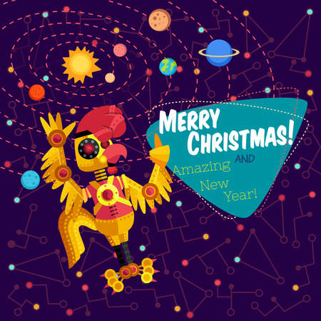 cyberpunk: Christmas greeting card: Merry Christmas and amazing New Year. Rooster robot in outer space in flat style. Illustration