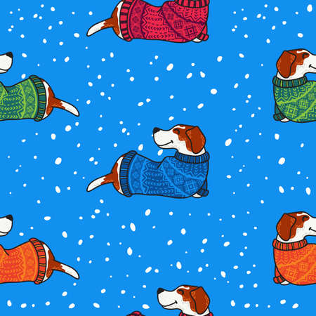 Vector seamless pattern for New Year and Christmas with dogs in colorful sweaters in winter. Illustration