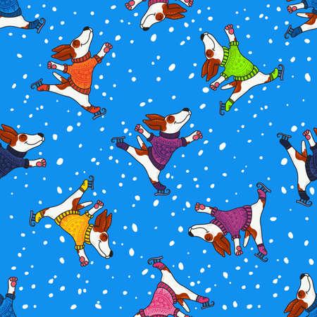 Vector seamless per Capodanno e Natale con i cani in maglioni colorati pattinaggio in inverno. Archivio Fotografico - 90276197