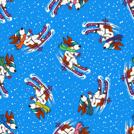 Vector seamless pattern for New Year and Christmas with dogs in colorful sweaters skiing in winter. Winter greeting design with doodle ornament. Ilustração