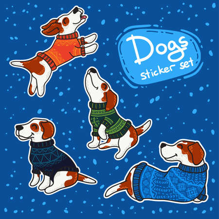 Vector stikers set for New Year and Christmas with dogs in colorful sweaters in winter. Winter greeting design.