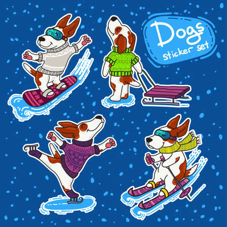Vector stickers set for New Year and Christmas with dogs in colorful sweaters in winter. Winter greeting design. Winter sport.