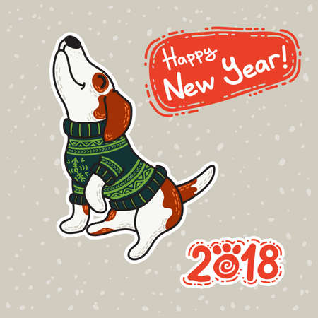 Vector postcard for New Year and Christmas with dogs in colorful sweaters in winter. Winter greeting design. Illustration