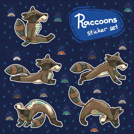 Cute hand drawn tribal racoon doing yoga position, fitness or gymnastic. Vector stikers. Nature ornament illustration. Vettoriali