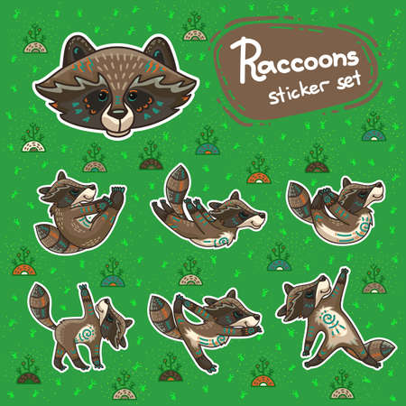 Cute hand drawn tribal racoon doing yoga position, fitness or gymnastic. Vector stikers. Nature ornament illustration. Illustration