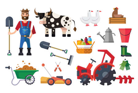 Vector flat farm set with farmer, shovel, rake, tractor, watering can, truck, cow, rubber boots, gloves, chicken, geese, bucket, mower and pruner.
