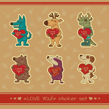 Craft doodle tribal illustratoin with animals. Vector stickers for Valentine day. Illustration