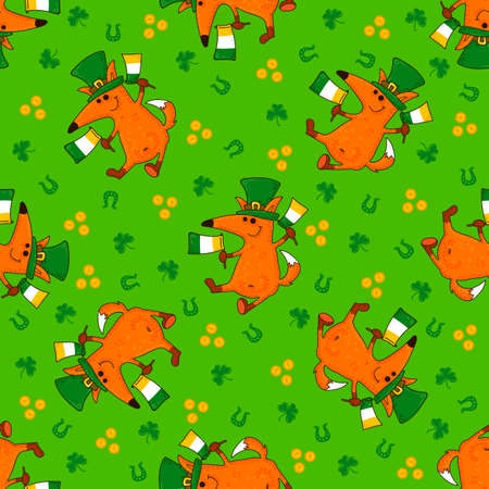 Saint Patrick's Day patterns with foxes and irish simbols. Vector doodle illustration.
