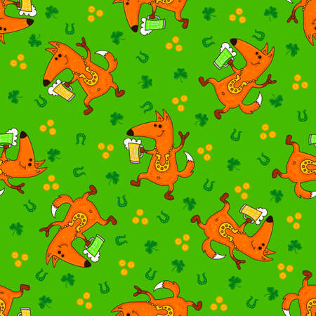 Saint Patricks Day patterns with foxes and irish symbols. Vector doodle illustration. Illustration