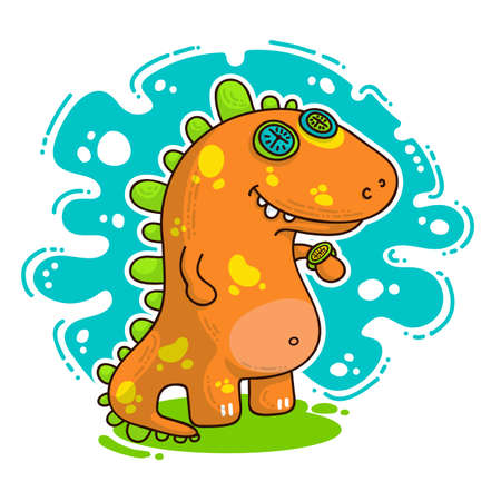 Cool Dino doodle vector illustration for cards, prints, stickes and other design