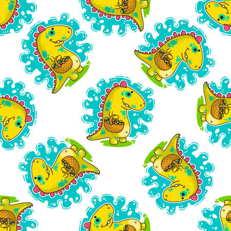 Cool Dino doodle vector illustration for cards, prints, stickes and other design. Seamless pattern. Wrapping paper