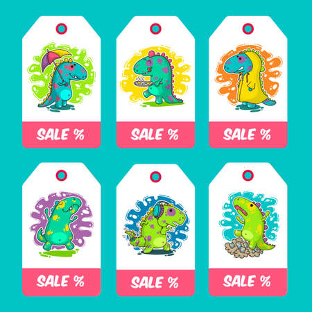 Cool Dino doodle vector cards. Illustration about sale