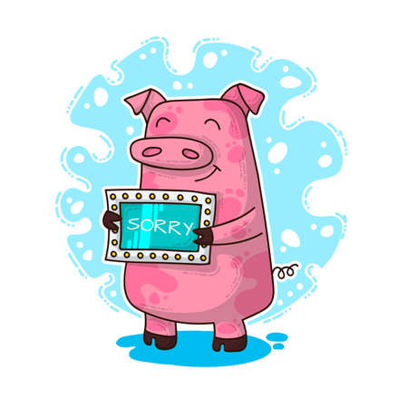 Vector illustration for New Year and Christmas with Pig. Winter greeting design.