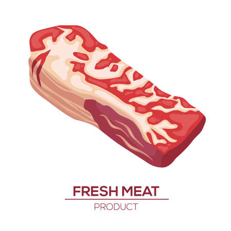 Fresh meat icons in style flat. Vector isoletad objects. Gastronomic products.