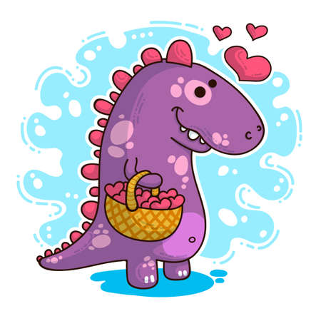 Vector illustration about Dinozaur in love for happy Valentine's Day Ilustração