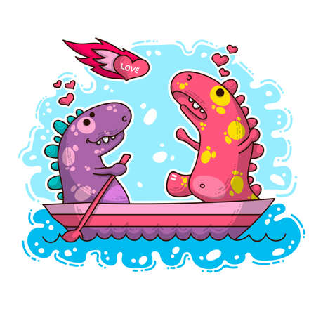 Vector illustration about Dinozaur in love for happy Valentine's Day