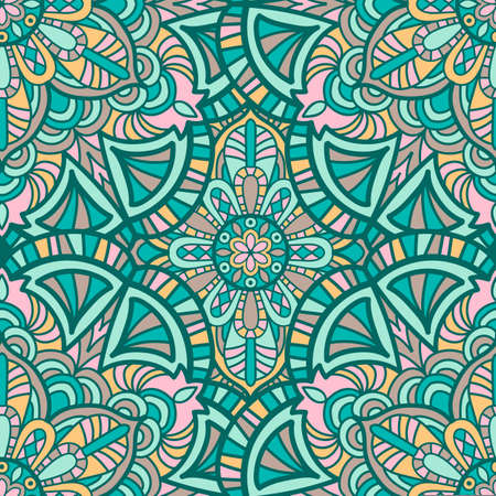 Tribal vector mandala. Vintage design for printing. Hand drawn background. 向量圖像
