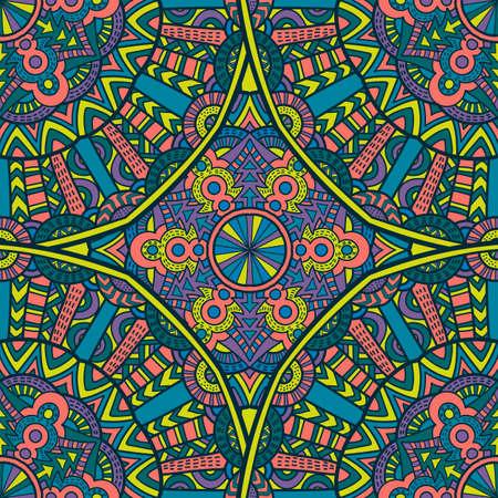 Tribal vector mandala. Vintage design for printing. Hand drawn background. Vettoriali
