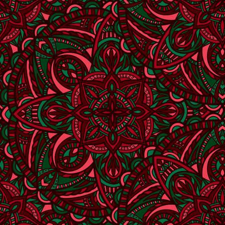 Tribal vector mandala. Vintage design for printing. Hand drawn background.  イラスト・ベクター素材