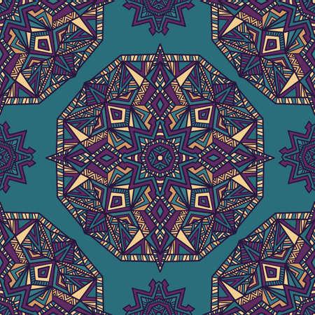 Mandala de vecteur tribal. Conception vintage pour l'impression. Arrière-plan dessiné à la main. Vecteurs