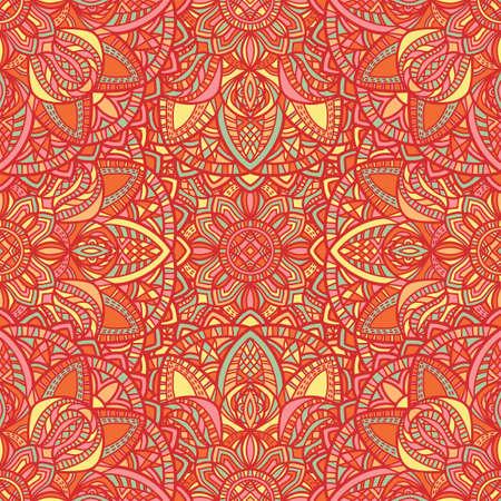 Mandala de vectores tribales. Diseño vintage para imprimir. Fondo dibujado a mano.