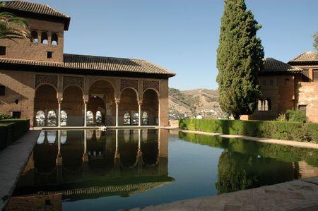 grenada: Alhambra Palace in front of mirror pond in Grenada, Spain