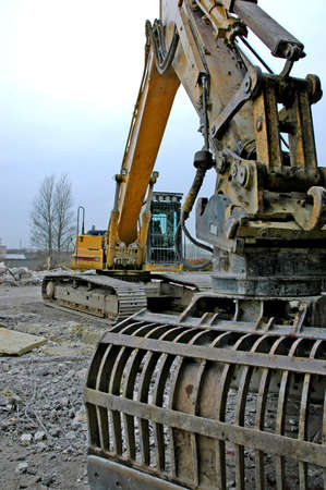 Large excavator at construction site photo